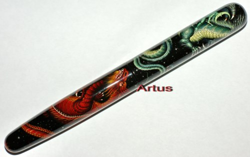 Dragons of Night and Day, one of a kind Artus fountain pen